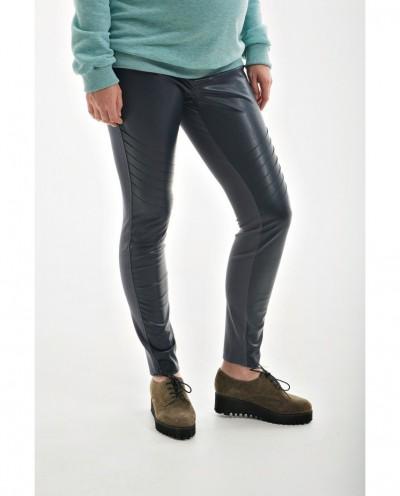 Стильные брюки для беременных с вставкой из кожзама (чёрный)