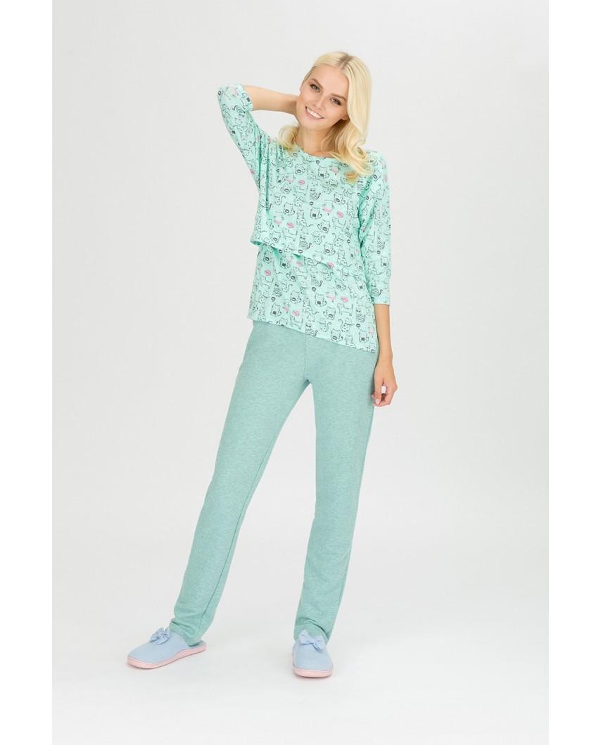 """Пижама для кормящих мам """"Коты"""" ментол"""