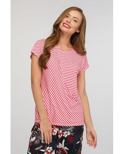 Блуза для кормящих Шанталь (коралловая полоска)